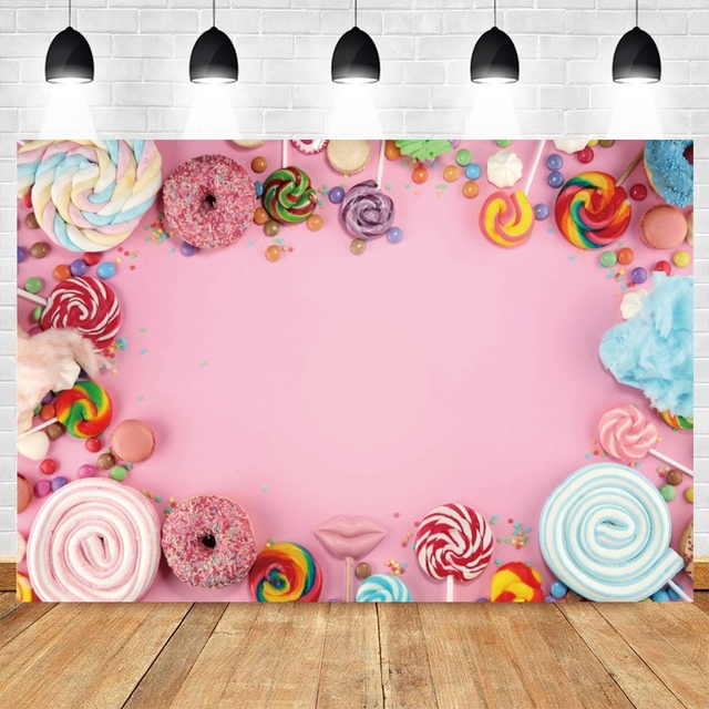 Yeele Suikerspin Bar Lolly Donuts Roze Verjaardag Fotografie Achtergronden Aangepaste Fotografische Achtergronden Voor Foto Studio