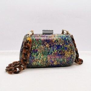 Image 2 - Nouvelle mode coloré acrylique sacs de luxe femmes sacs de messager élégant marbre soirée pochettes parti bal mariage sacs à main