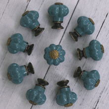 10PCS Puxadores de Cerâmica e Alças Porta Do Armário Da Gaveta Do Vintage Pequeno Puxar o Botão de Punho, Ferragem da Mobília