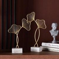 Europäische Eisen Kunst Gold Gingko Blatt Miniaturen Kreative Luxus Wohnzimmer Home Desktop Ornament Dekoration Möblierung Handwerk