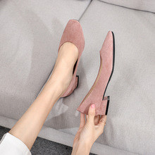 Square Heel Square Toe Low High Heel Big Size Casual Flock Rubber Shallow Slip-on Basic Pumps Women New Spring Shoes H0001 2020 new fashion cow leather shallow square heel big size women pumps slip on elegant wedding office lady party metal sexy shoes