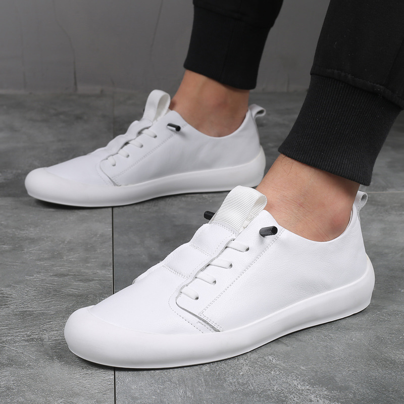 2020 Genuine Leather Shoes Men Sneakers Cow Leather Mens Casual Shoes Cool Young Man Black White Shoes Male Footwear A2217