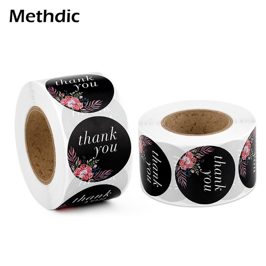Custom Logo Printing Round Thank You Label 500 Labels/roll Thank You Stickers Roll