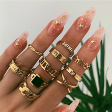 Tocona Punk Gold Chain Star Rings Set Vintage Rings for Women Bohemian Geometric Round Hollow Knuckle Ring Girl Jewelry 9071