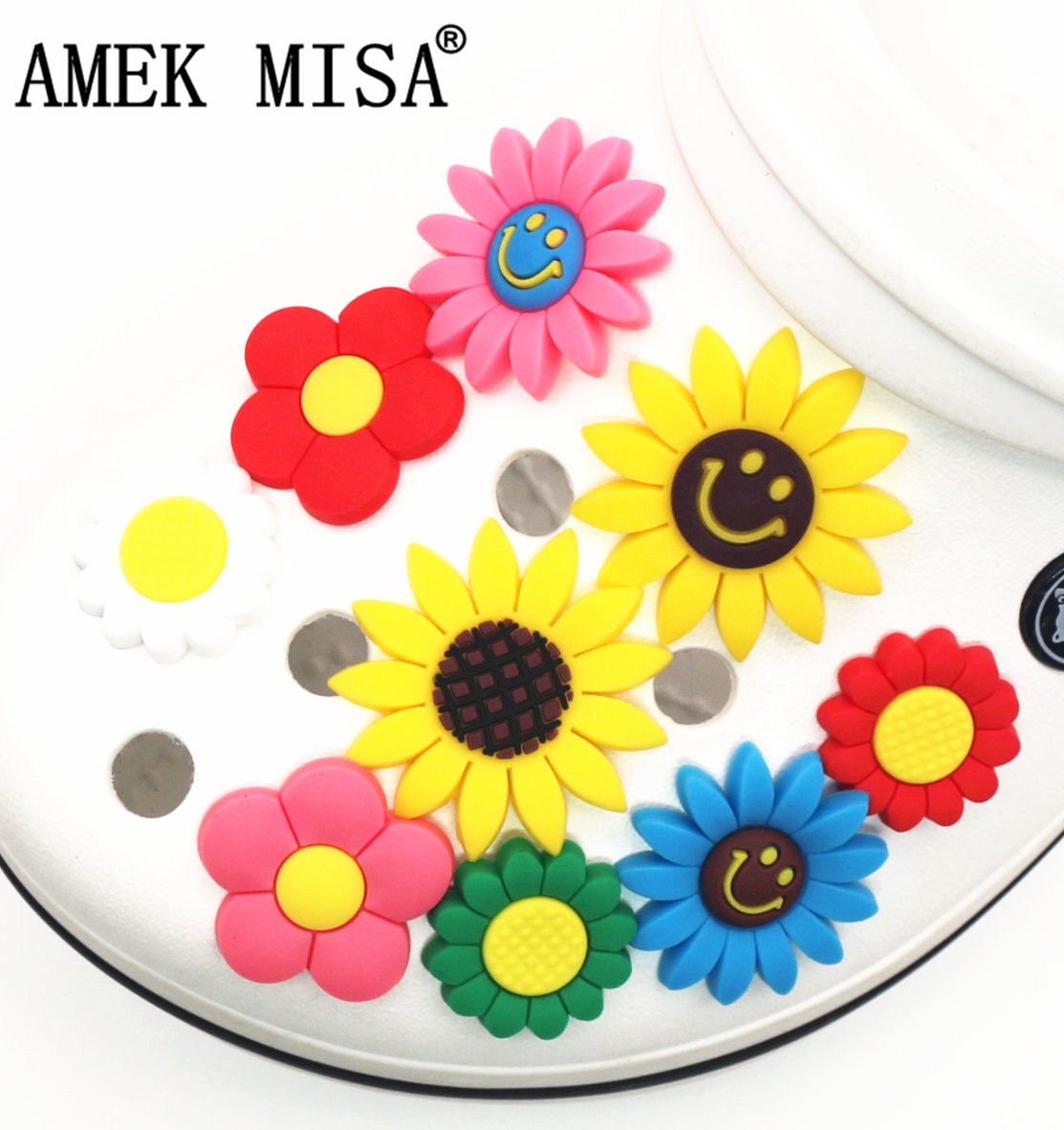 Cute Sunflower PVC Shoe Charms Single Sale 12 Kinds Of Flowers Garden Shoe Buckle Decoration For Croc Wristband Jibz Kids Party