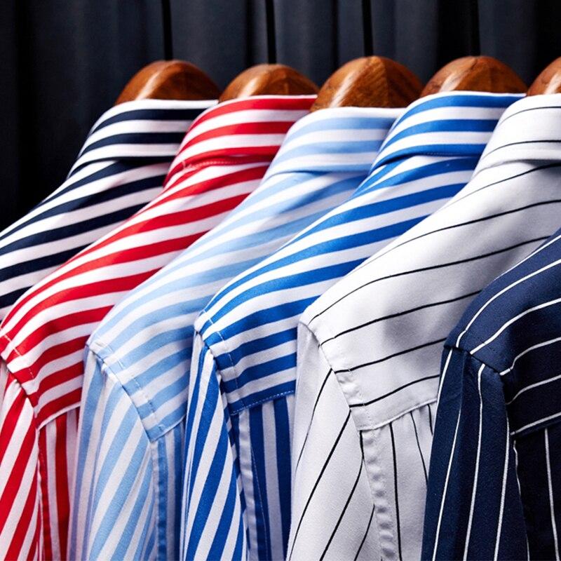 Classic Striped Plaid Men's  Long Sleeve Casual Shirt Male Social Slim Fit Business Dress Shirt Size 5XL