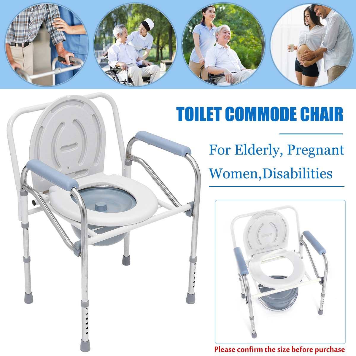 New Portable Foldable Potty Chair Toilet Adjustable Commode Chair Closestool Chamber Pot For Elderly Men Women Stainless Steel
