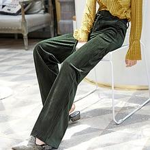 Corduroy กางเกงขากว้างผู้หญิง 2019 ฤดูใบไม้ร่วง Pleuche สูงเอว Casual หลวมกางเกงยาวสไตล์เกาหลี Palazzo กางเกงขนาด Plus