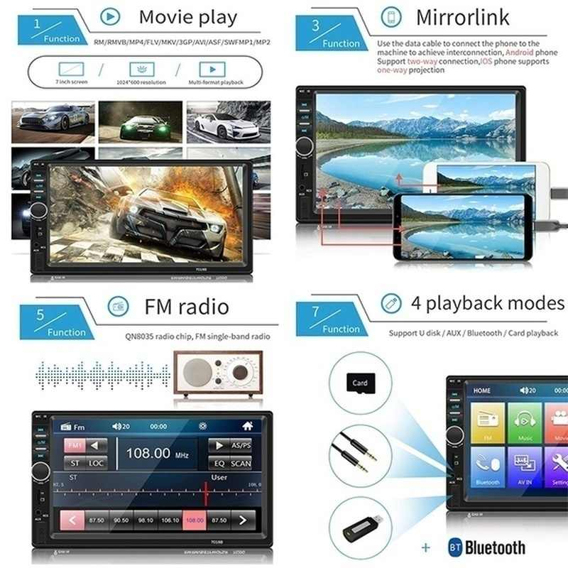 2Din 7 ''HD Dokunmatik Ekran Araba Stereo Bluetooth Multimedya Oynatıcı Build-in Autoradio FM AUX USB SD IOS /Android Ayna Bağlantı