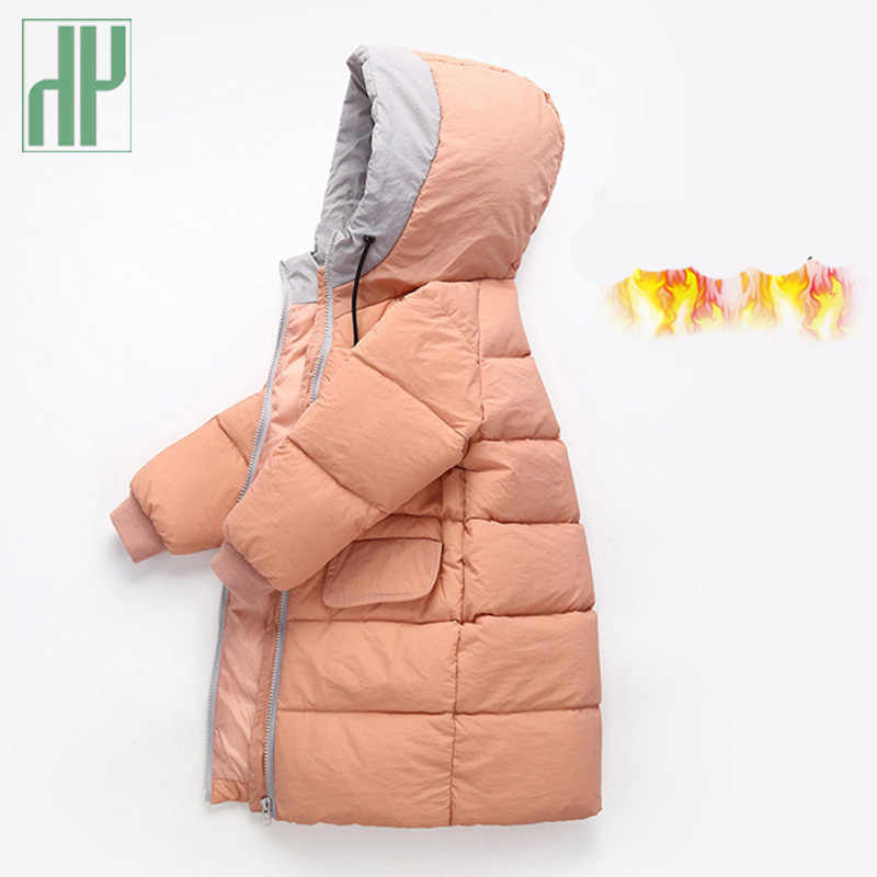 HH Winter jacket girls coat Thickening Collar Hooded long coat Cotton down baby boy jacket For Kids Teenage Outwear