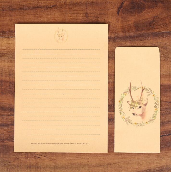 XRHYY 6 шт., винтажная бумага для письма с оленем и конвертами, ретро набор, крафт-бумага для письма, винтажный набор бумаги с буквами - Цвет: Set5