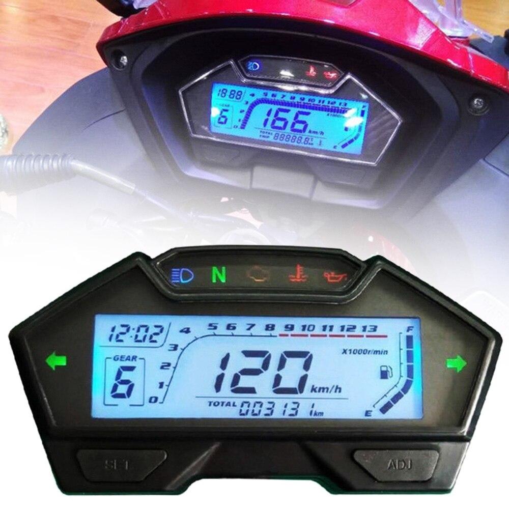 1PC tout en un fonction Moto Speedo Odo Tacho compteur jauge MPH carburant indicateur affichage numérique 12V Moto Instrument
