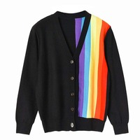 Women Black Cardigan Asymmetric Contrast Rainbow Colored Vertical Striped Cardigan V neck Single Breasted Sweater Coat P 218