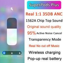 Mais novo superpods plus tws wirelesss bluetooth fones de ouvido 1:1 35db anc cancelamento ruído & transparência 10d super bass