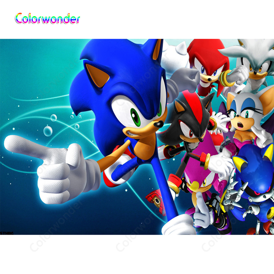 Blue Hedgehog Sonic With Other Animal Friends Photography Backdrops Cartoon Underwater Backgrounds For Kids 1st Birthday Party Background Aliexpress