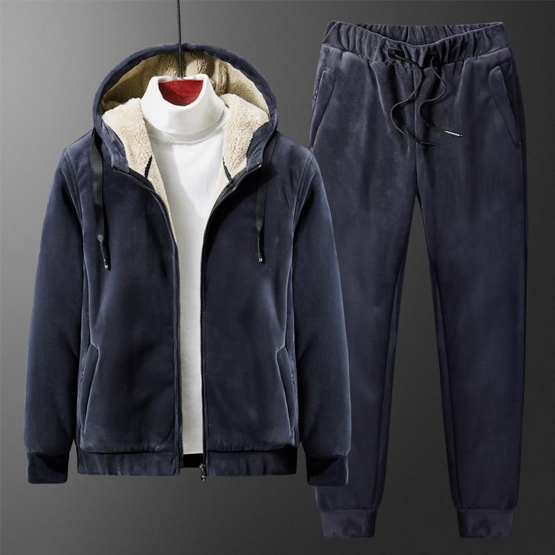 Plus Size L-8XL 130kg Men's Winter Plus Thick Velvet Casual Suits Two-piece Cashmere Sweatshirt +pants 2 Pieces Set Super Warm