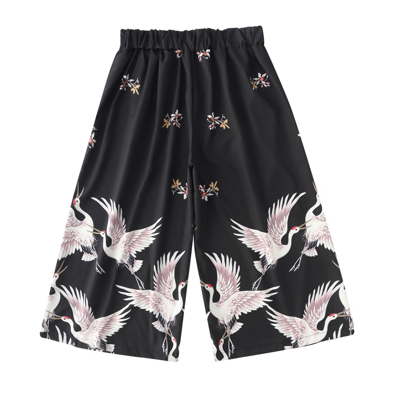 Traditional Japanese Clothes Boho Capri Pants Red-Crowned Crane Japanese Fashion Wide Leg Pants Kimono Cropped Trousers FF2576