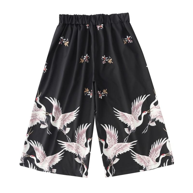 Traditional Japanese Clothes Boho Capri Pants Red-Crowned Crane Japanese Fashion Wide Leg Pants Kimono Cropped Trousers FF2576