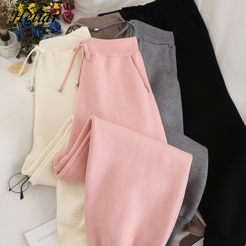 Heliar Casual Pants Loose Elastic Cottons Pants Winter Trousers For Women Thick Lambskin Cashmere Pants Trousers With Pockets