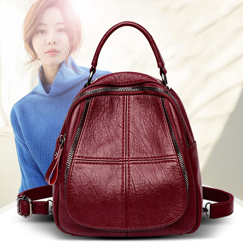 Backpacks Women 2019 Fashion Black Shopping Bag For Women Pu Leather School Backpacks Shoulder Women Bag