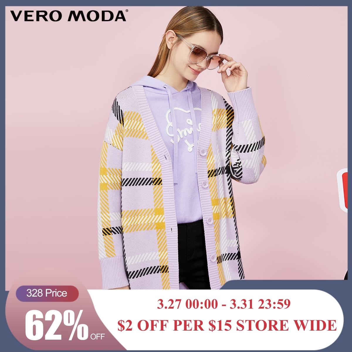 Vero Moda New Mid-length Plaid V-neck Single Breasted Off Shoulder Knit Cardigan | 319325501