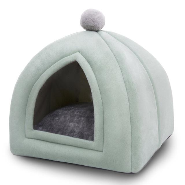 Winter Warm Pet Cat Bed House Soft Foldable Non-slip Bottom 4
