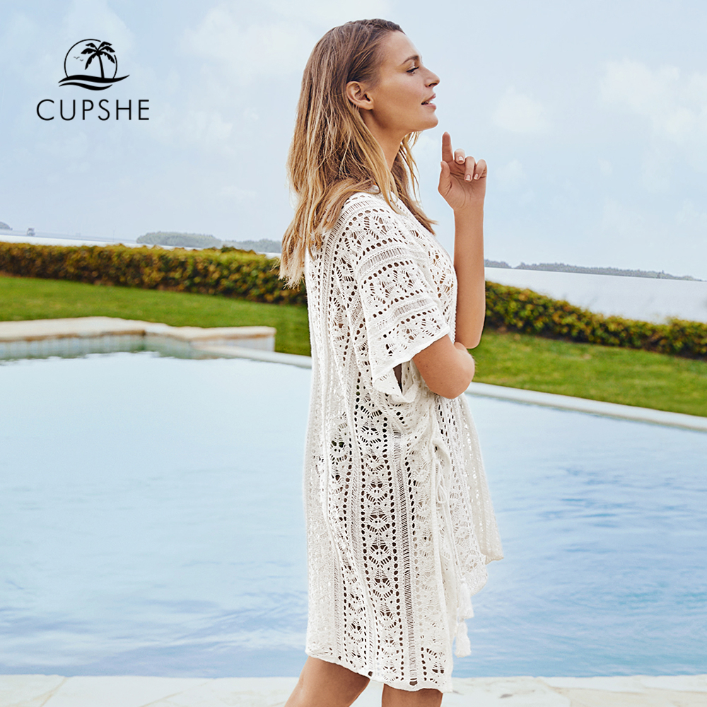 CUPSHE White Crochet Bikini Cover Up with Fringe Trim Women Sexy Hollow Tunic Beach Dress 2021 Summer Bathing Suit Beachwear