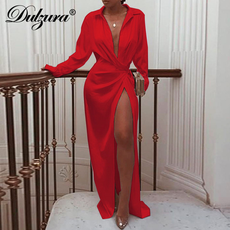 Dulzura Satin Midi Wrap Shirt Dress Long Sleeve High Slit Sexy Bandage Party 2019 Autumn Winter Clothes Festival Dinner Outfit