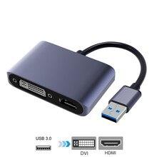 Adattatore USB 3.0 a HDMI DVI Dual Displayport Convertitore USB supporto HDMI DVI Uscita Sync 1080P per Finestre 10 /8/7 Adattatore USB