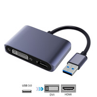 USB 3.0 Adapter to HDMI DVI Dual Displayport USB Converter support HDMI DVI Sync Output 1080P for Windows 10/8/7 USB Adapter