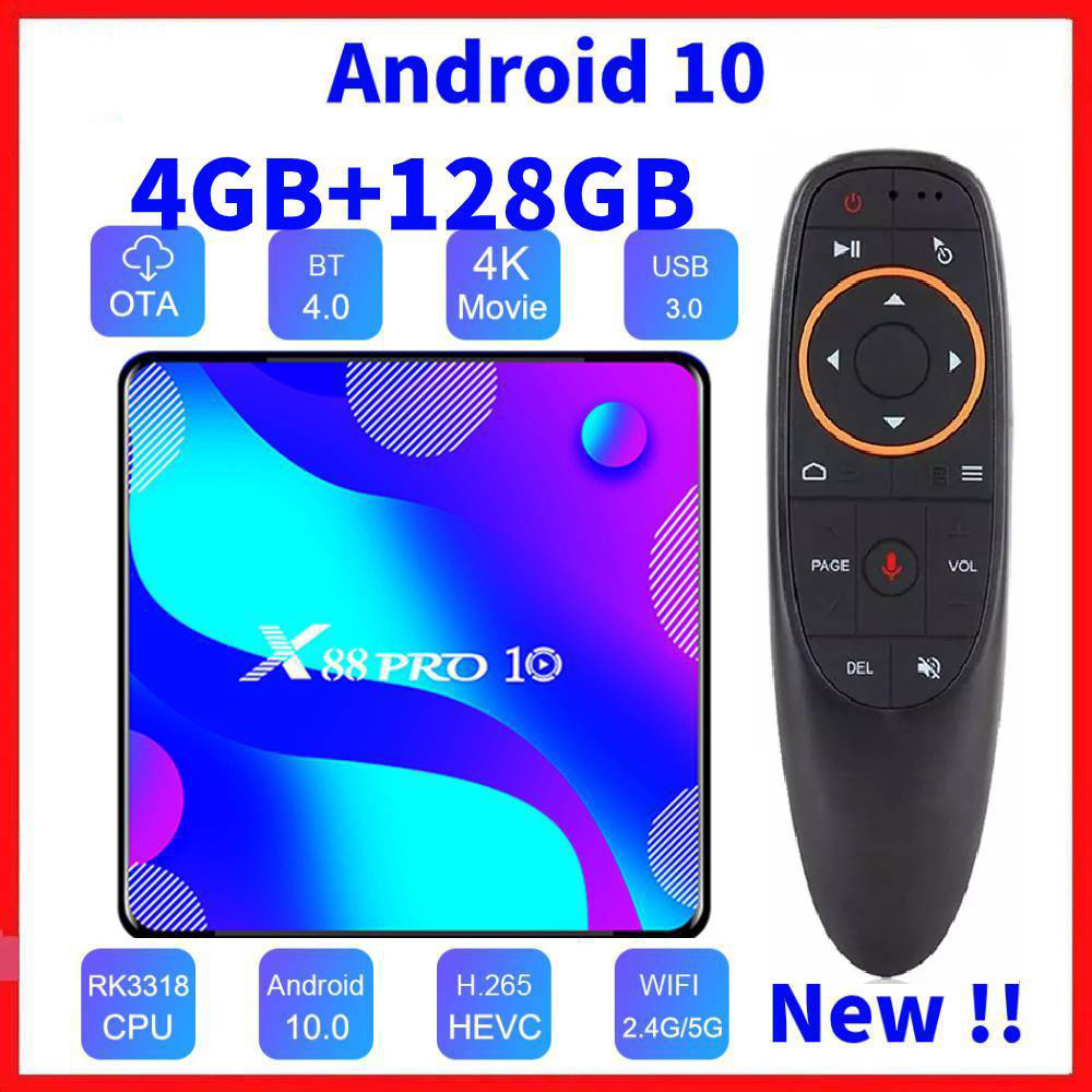 Android 10,0 смарт-ТВ Box Android 10 MAX 4 Гб Оперативная память 128 Гб Встроенная память RK3318 BT4.0 ТВ коробка 5,8G двухъядерный процессор Wi-Fi Media Player Youtube 4K Декод...