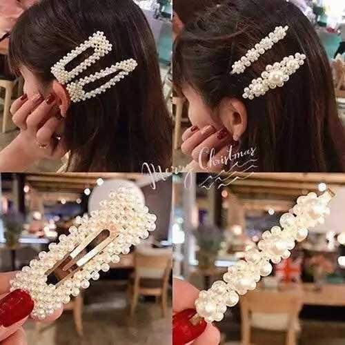 1 conjunto de moda feminina meninas elegantes pérolas grampos de cabelo grampos de cabelo pinos barrette acessórios para crianças hairgrip headwear novo