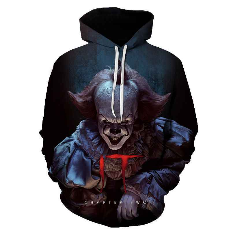 movie IT Pennywise Clown Stephen King 1990 2017 Horror Movie Hoodie Sweatshirt COSPLAY Tracksuit sweatshirt print men