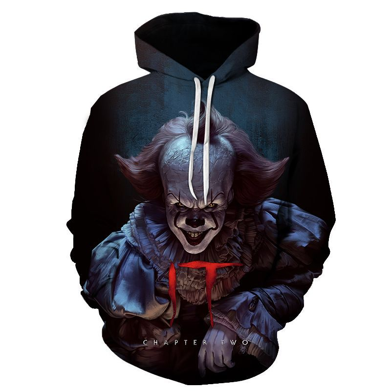 Movie IT Pennywise Clown Stephen King 1990 2017 Horror Movie Hoodie Sweatshirt COSPLAY Tracksuit Sweatshirt Print Men