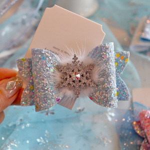 Image 3 - 6pcs/lot Princess Crown Hair Clips Sweet Color Shine Glitter Diamond Hairbows Mesh Decor Hairpin Girls Party Hair Accessories