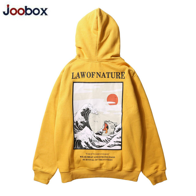 Japanese Embroidery Funny Cat Wave Printed Fleece Hoodies Winter Japan Style Hip Hop Casual Sweatshirts Streetwear New