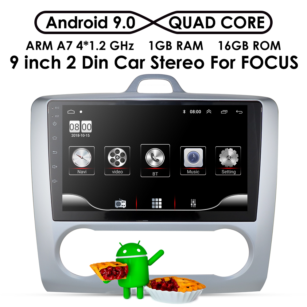 9 inch Android Car Radio For ford focus EXI AT MT 2 3 Mk2 Mk3 2004 2005 2006 2007 2008 2009 2010 2011 2Din GPS Multimedia Player image
