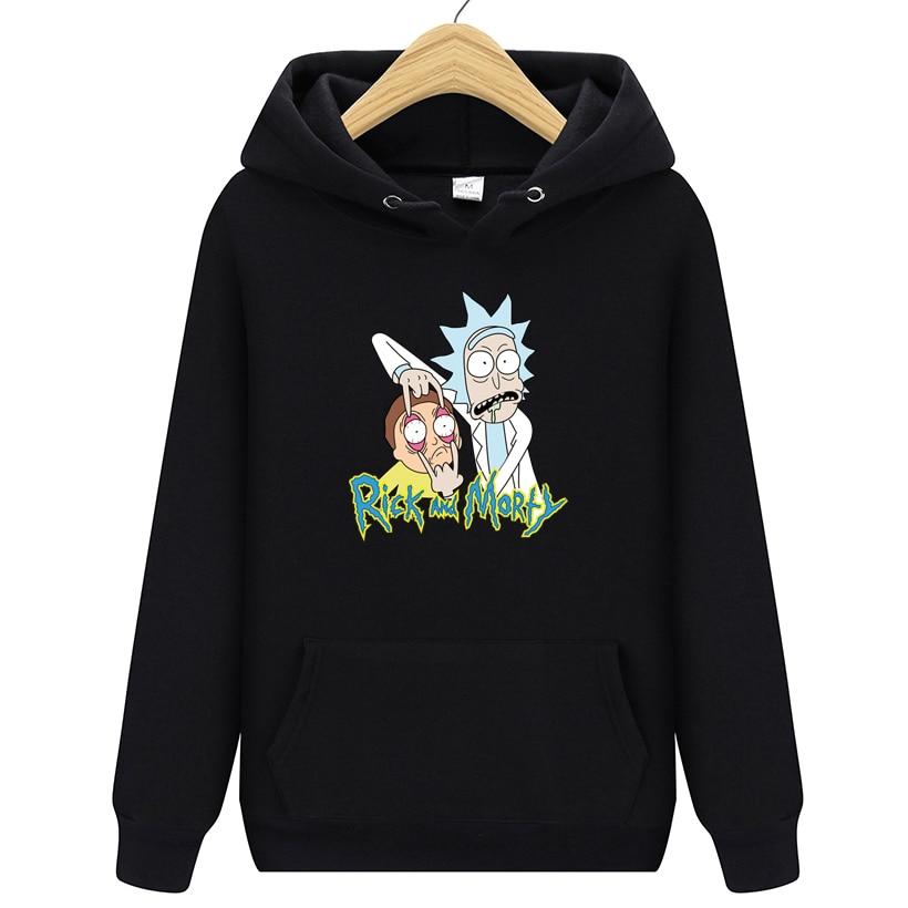 Hoodies Men Brand Autumn Rick Morty Long Sleeve Solid Color Hooded Sweatshirt Mens Hoodie Tracksuit Sweat Coat Casual Sportswear