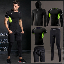 Men Sportswear Tracksuits Joggers Running-Sets Compression-Sport-Suits Gym Fitness Quick-Dry