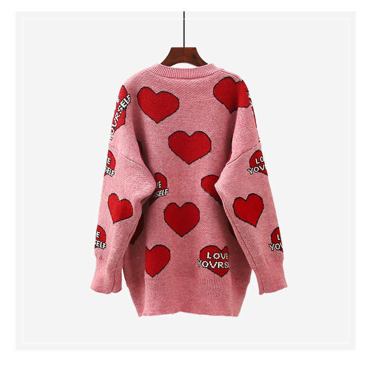 H.SA Women Oversized Sweater and Pullovers Oneck Sweet Heart Letters Printed Pull Jumpers Long SLeeve Pink Streetwear Knit Tops 9