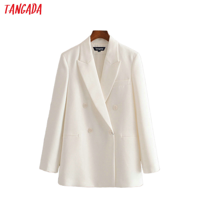 Tangada 2020 Women White Suit Blazer Long Sleeve Ladies Coat Female Buttons Formal Blazer Office Business Suit Top 3H480