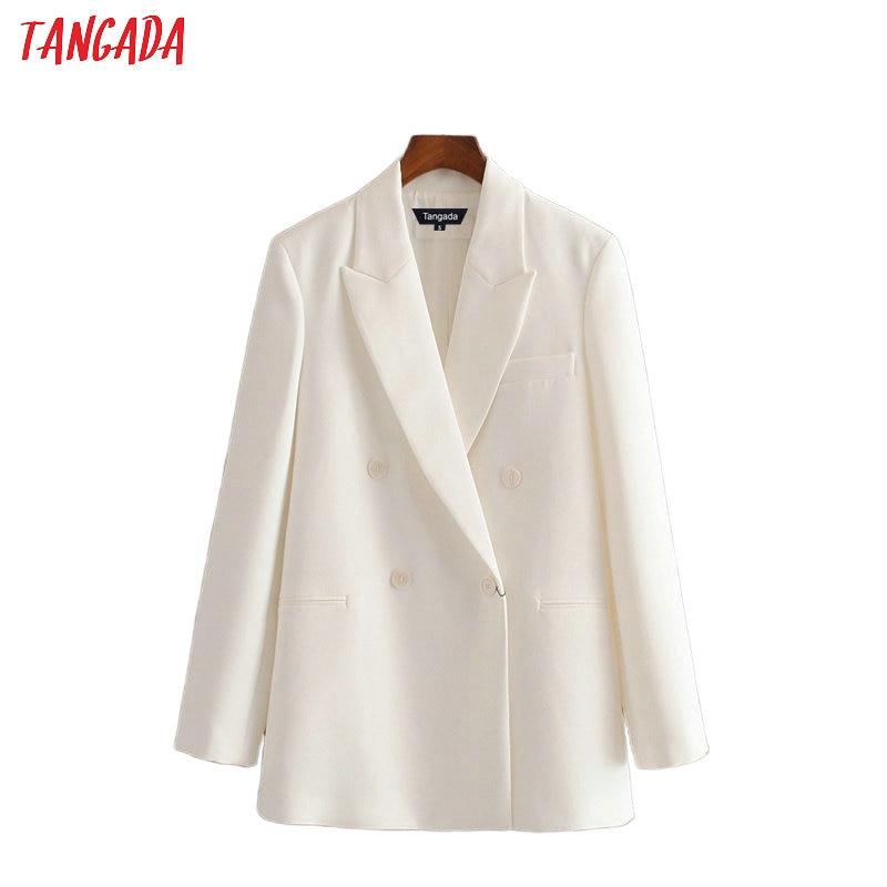 Tangada 2020 Women White Suit Blazer Long Sleeve Ladies Coat Female Buttons Formal Blazer Office Business Suit Top 3H480