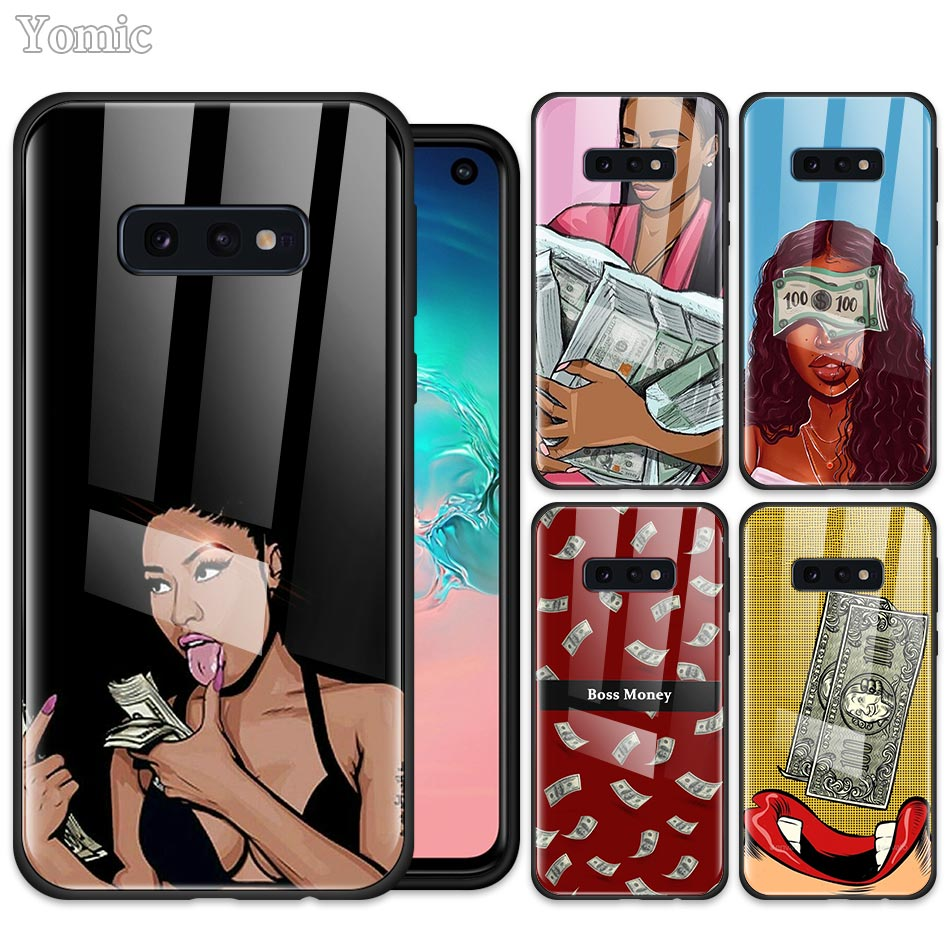 Boss Money Girl Phone Case for Samsung Galaxy S20 S10 S10e S9 S8 + Note 10 Plus 5G A50 A70 Black Soft Edge Tempered Glass Cover image