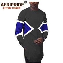 African Clothes for Men Dashiki Long Coats Jacket Ankara Clothing Sleeve O Neck Outwear Bazin Riche AFRIPEIDE A2014003