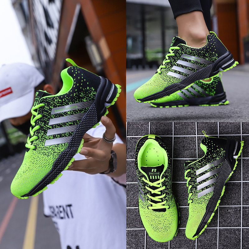 Image 5 - Big Size Green Breathable Cheap Running Shoes Men Flyknit Red Outdoor Marathon Sneakers Lightweight Keep Running Men Sport ShoesRunning Shoes   -