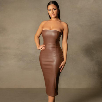 Faux Leather Strapless Sleeveless Dress