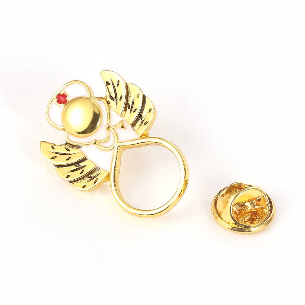 Oro Caldo di Vendita Cardiogramma Stetoscopio Angelo Infermiera Magnetica Occhiali Spille Spilla Occhiali Occhiali da Vista per Rn Regalo di Laurea Spilla