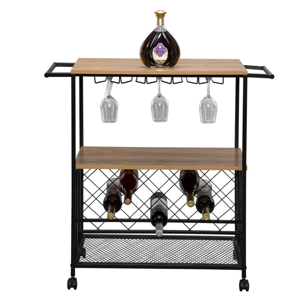 Kitchen Serving Cart Bar Buffet Wine Rack Glass Holder Wine Rack Cart Kitchen Rolling Storage Bar Wood Table Serving Trolley