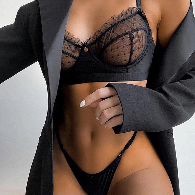 Big Sale Ruffle Lace Lingerie Set Sexy Women's Underwear Transparent Bra Party Sets Lace Black Lingerie Bra Set Underwear Set