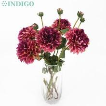 цена на INDIGO-5pcs Purple Dahlia Big Daisy Chrysanthemum Home Table Decoration Artificial Flower Wedding Party Free Shipping